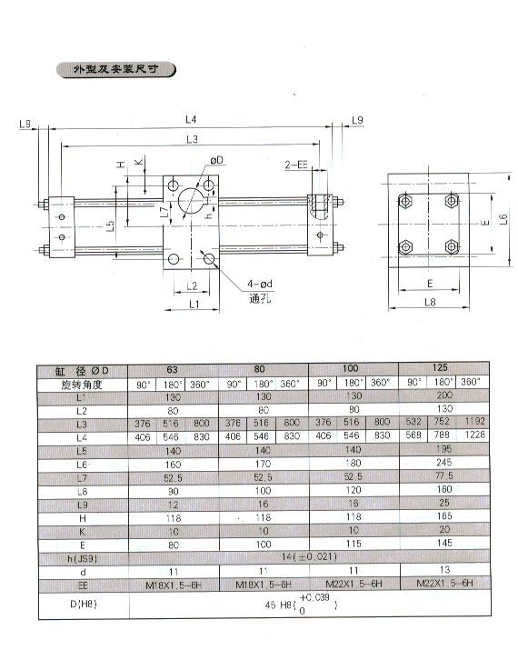 qgk齿轮齿条摆动气缸(孔式)图片